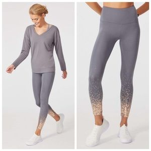 grey and gold workout tights leggings